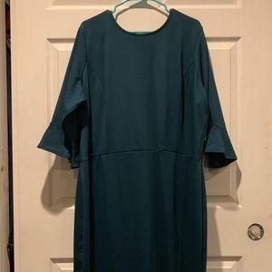 Dark green shift dress
